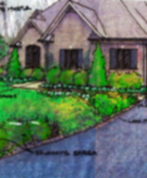 landscape architecture, hardscape, plantings, landscape design, renovation, landscape, sketch, palmyra, henrico, richmond, virginia, plan