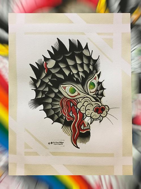 "11x14 Wolf Web Painting ""ORIGINAL"""