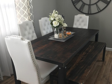 Reclaimed Wood Dining Table & Matching Bench