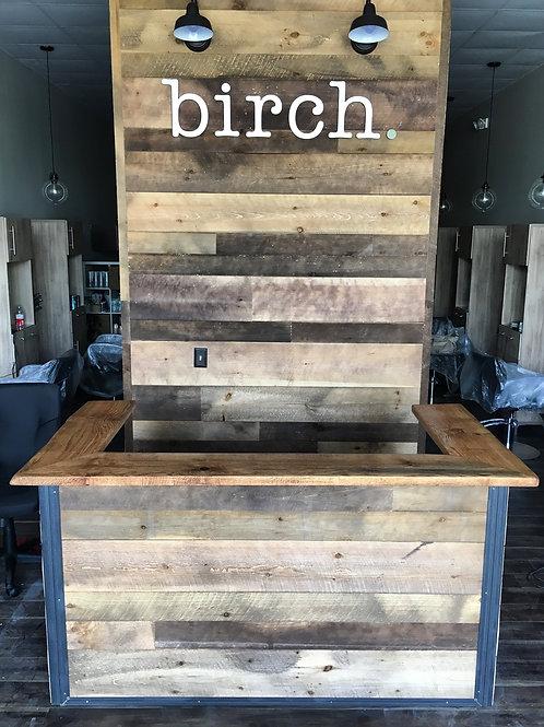 Industrial Style Reclaimed Wood Reception Desk