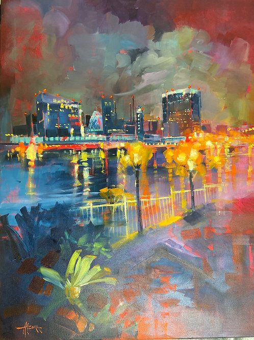 """Signed """"Alzora"""". Oil on canvas of Downtown San Diego from Coronado"""