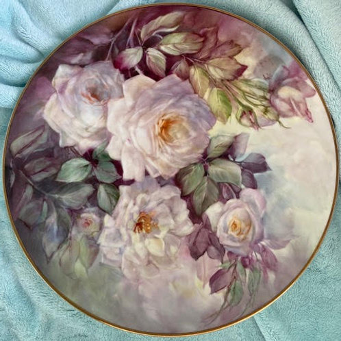 White Roses on Plate with Gold Trim