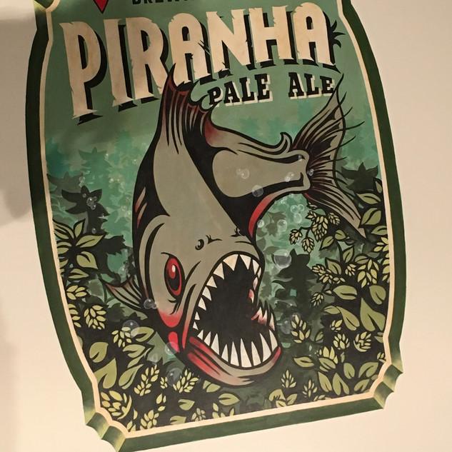 Piranha Beer Label