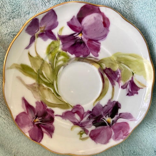 Cup and Saucer with Purple Luster and Purple Pansies