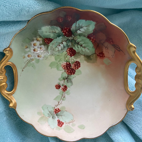 Antique Berry Bowl with Gilded Handles