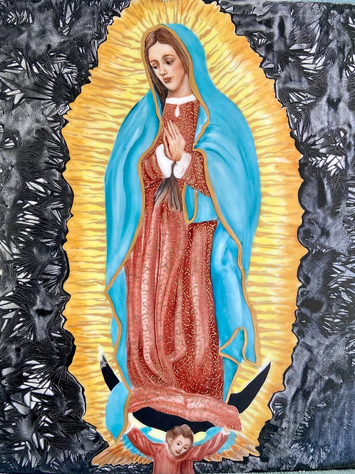 Our Lady of Guadalupe on an Unframed Tile.
