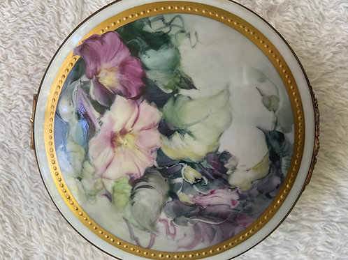 Morning Glories on a Limoges Hinged Box