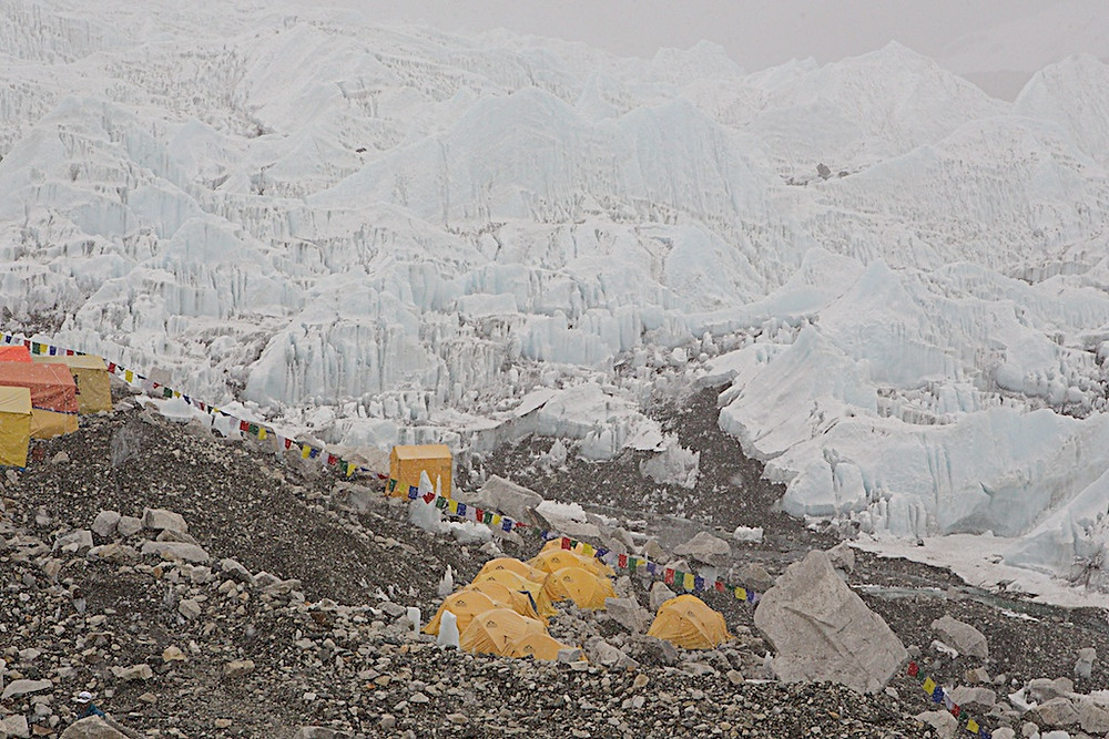 Base camp with stunning backdrop of ice