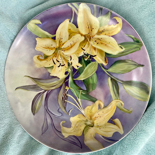 Pale Yellow Lilies on a Large Coup Plate