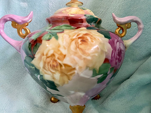 2 Piece, Three Footed Cache Pot with Multi-Colored Roses
