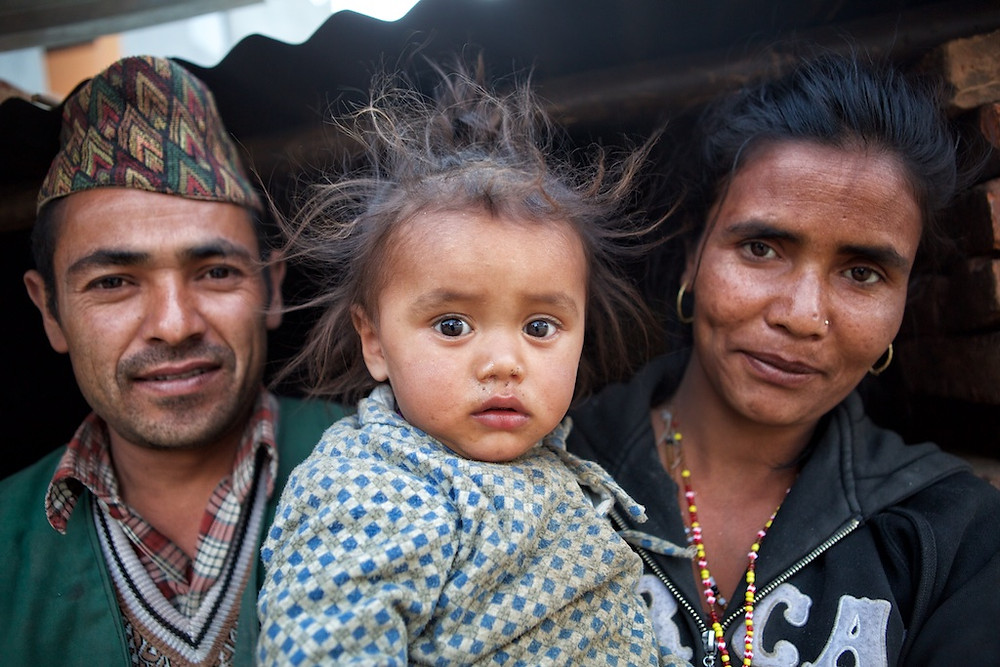 Nepali man, child and woman