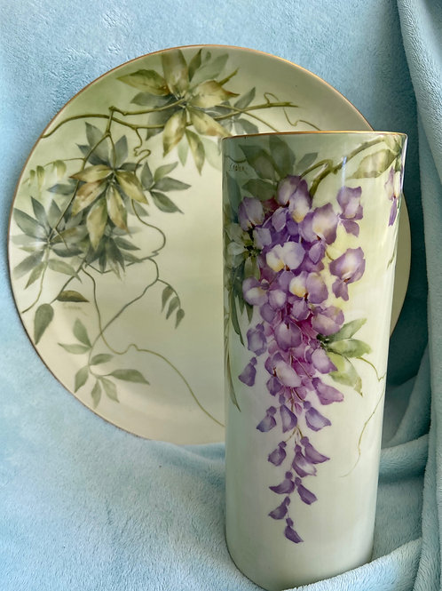 """Signed by Jean Sadler – 14"""" Coup Plate with Companion Cylinder Vase"""