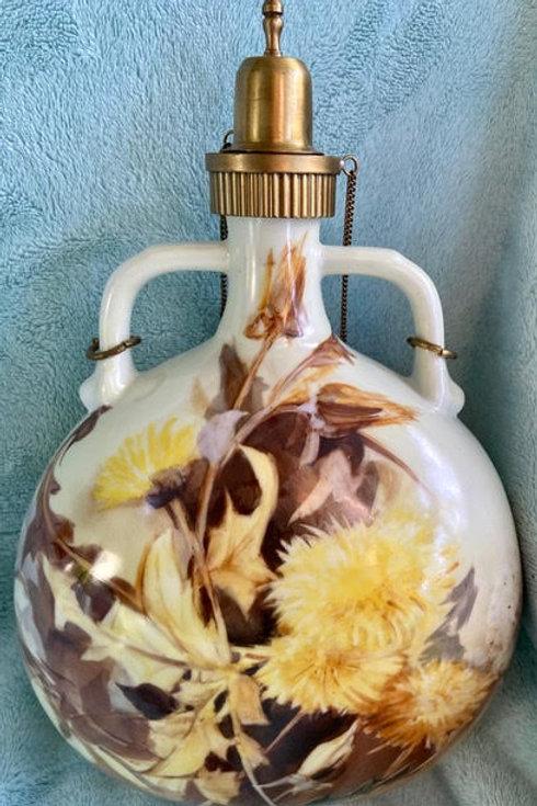 Portuguese Porcelain Decanter with Dandelions