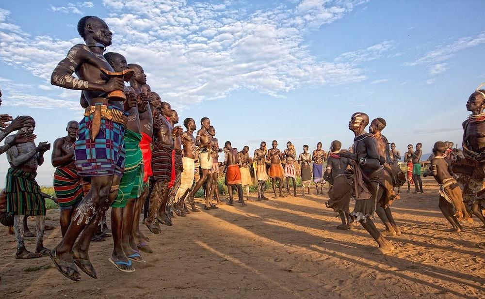 Omo River Valley villagers dancing
