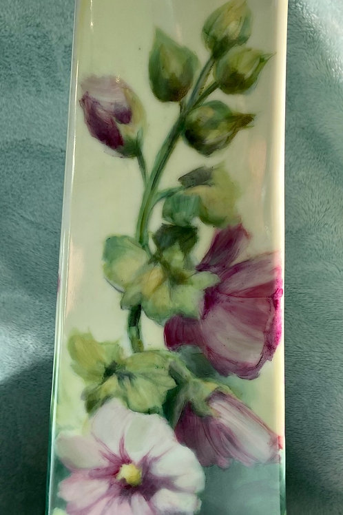 Hollyhocks on a Modern Vase Painted on all 4 Sides
