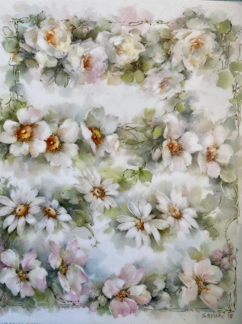 Signed Sadler '75 tile.  Study of White Flowers
