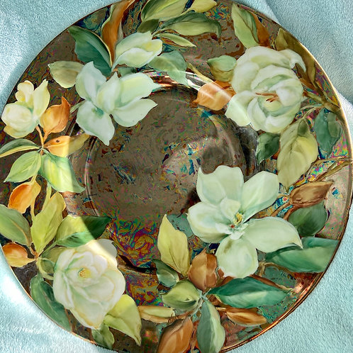 Magnolias on a Large Round Platter
