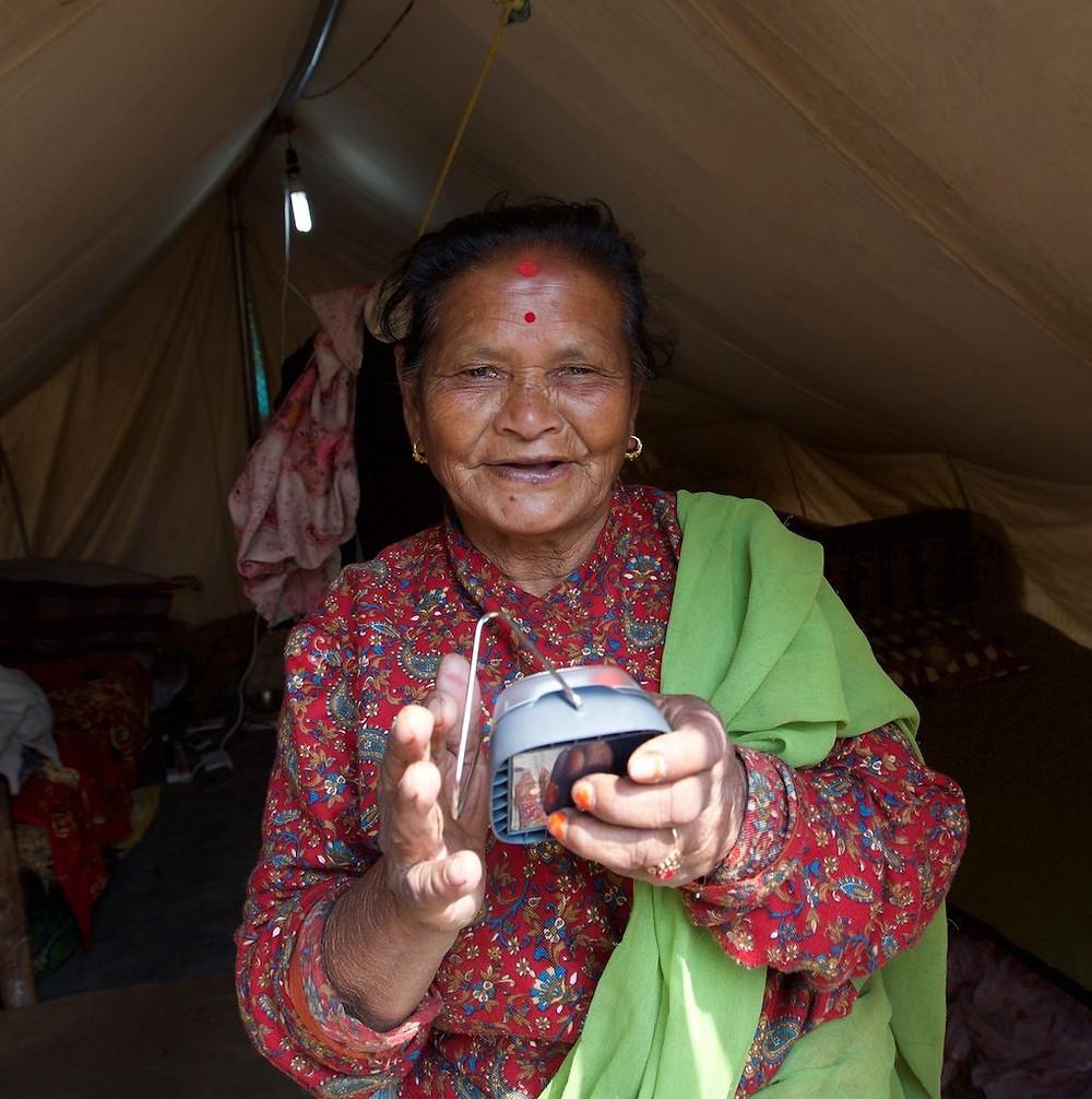 Woman holds solar light
