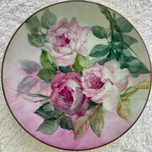 Pink Roses on a Plate with Silver Trim