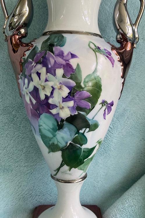 """Signed """"Alzora"""" Violets on a Kaiser German Vase"""