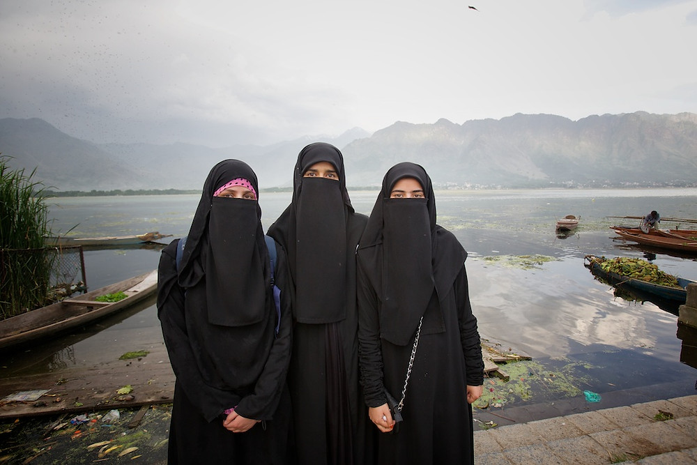 Three women in burkas