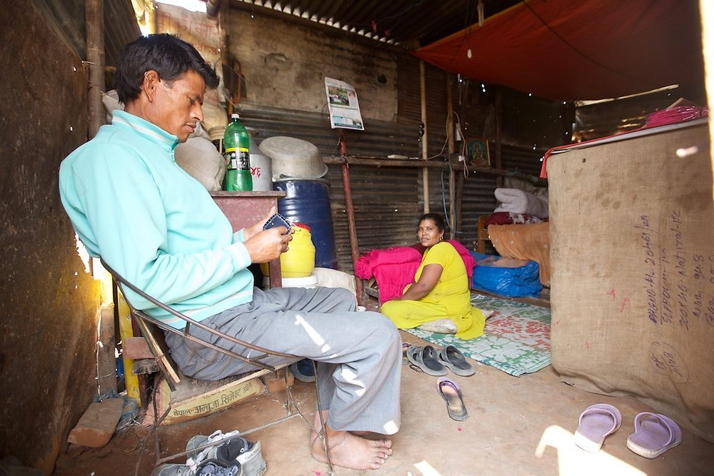 Couple inside shack