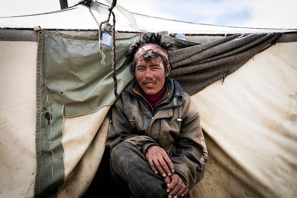 Changpa man in tent