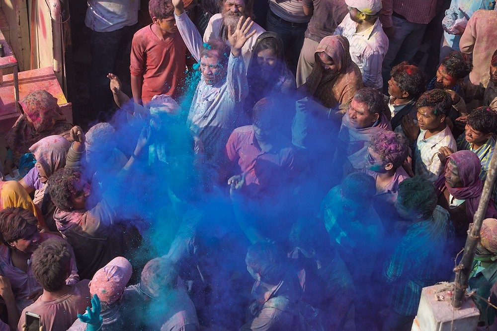 Crowd with blue dye