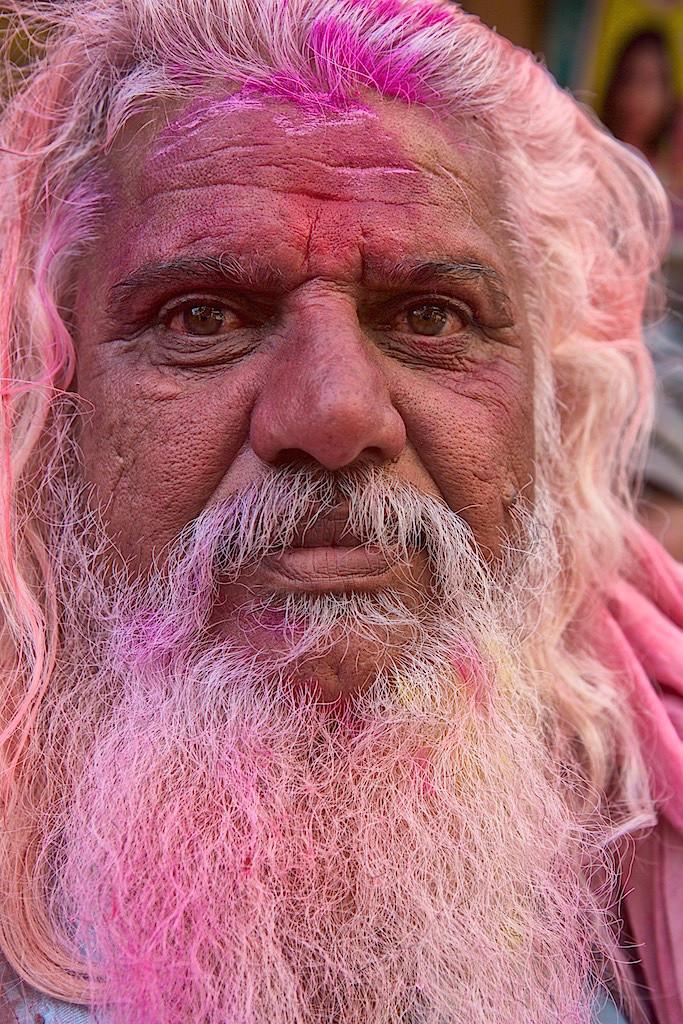 Older man at Holi festival