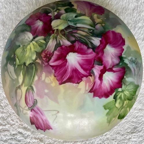 Round Box with Ruby Morning Glories