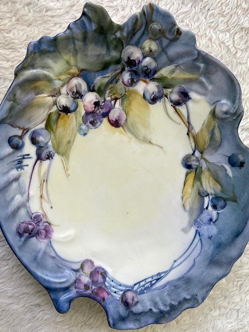 Candy/Nut Dish Painted with Blue Berries
