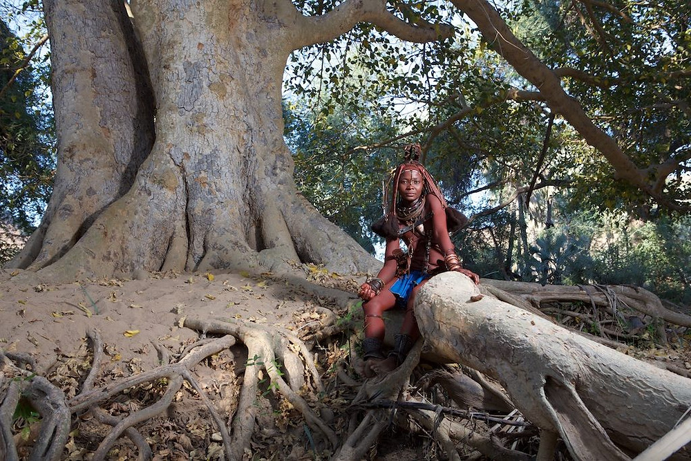 Himba woman sitting on roots of tree