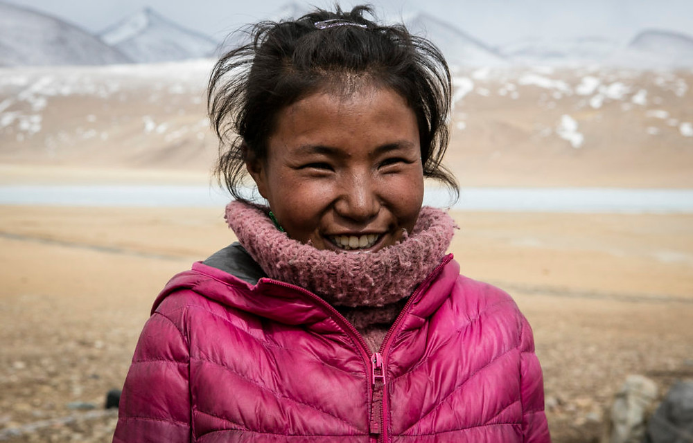 Changpa girl in pink jacket