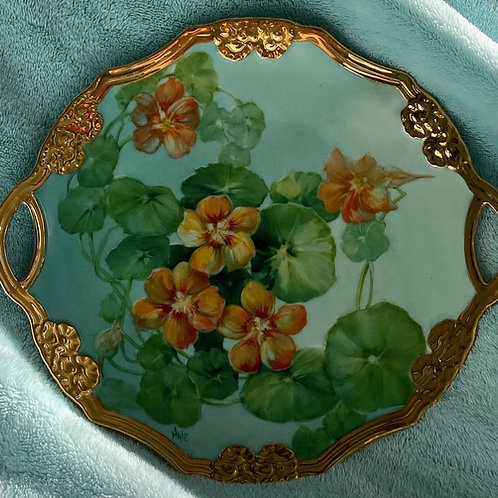 Nasturtiums on a Small Tray Rimmed in Liquid Bright Gold