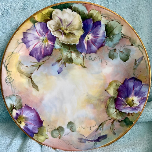 Bold and Beautiful Morning Glories on a Plate