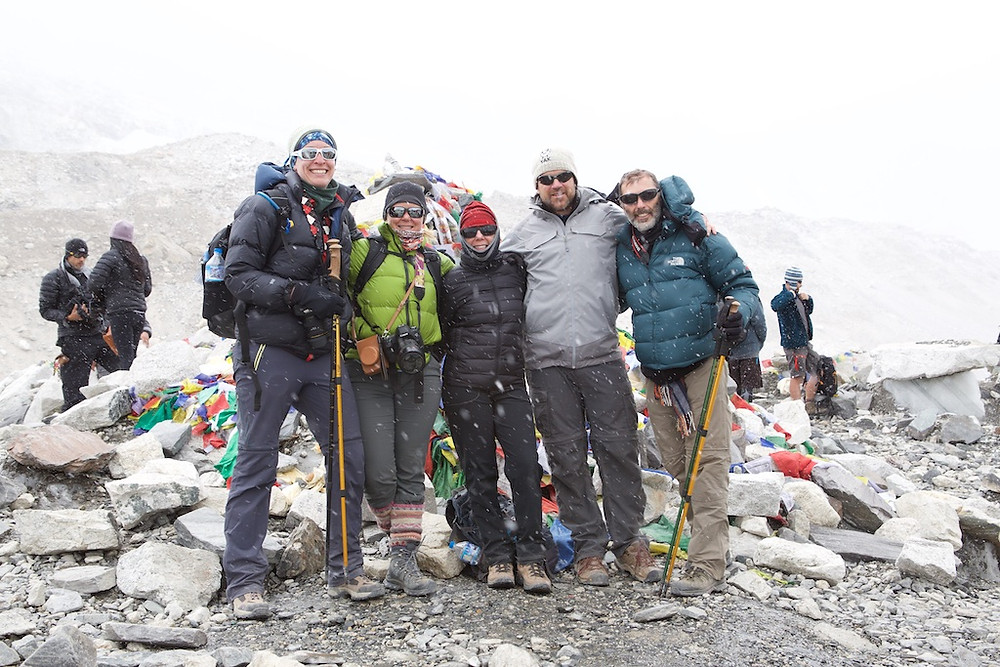 Group of hikers at base camp