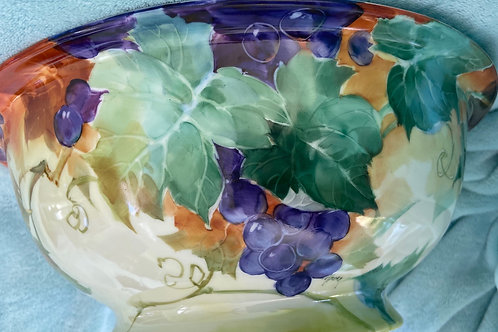 Signed Alzora. Large Punch Bowl with Green and Purple Grapes