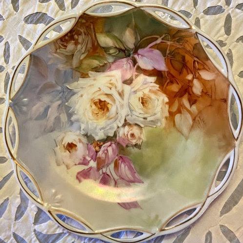 White Roses on a Plate