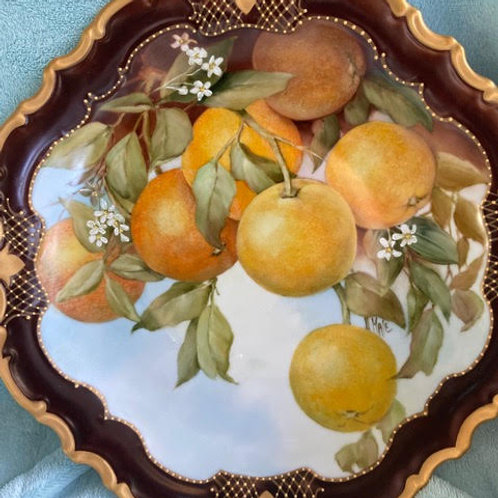 Oranges on a Roman Gold Rimmed Plate