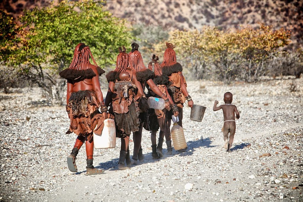 Five Himba women carrying water holders, with one child