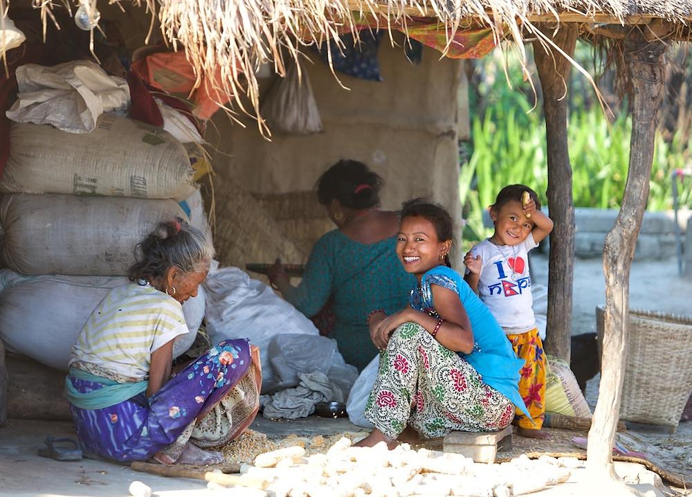 Multi-generation Nepali family