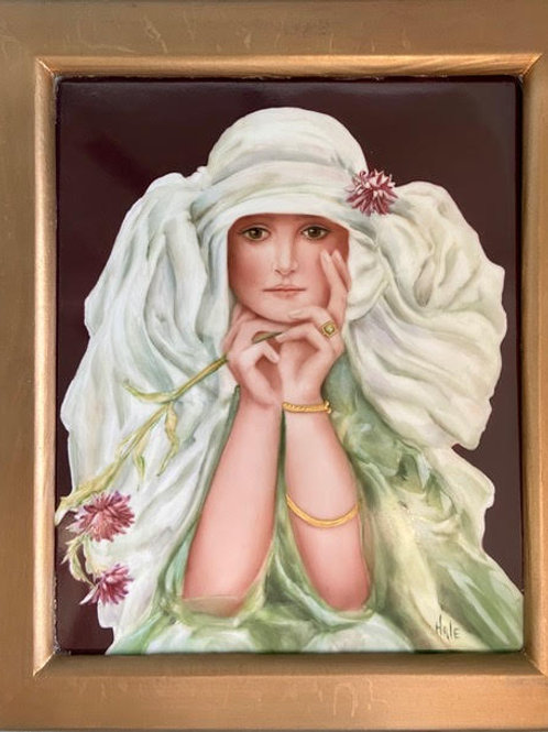 Art Nouveau Lady in Green on a Framed Tile
