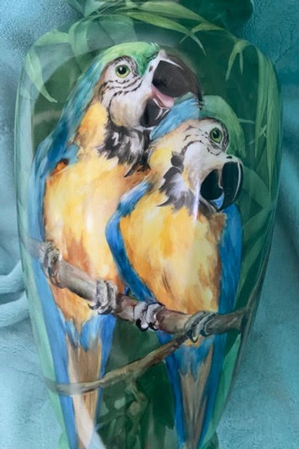Large vase with Macaws and Golden Hibiscus