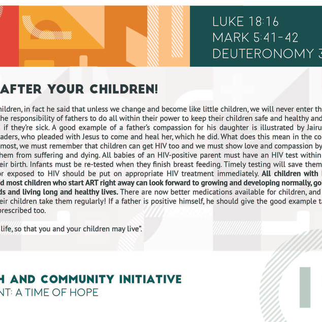 Reflection 19 - Look After Your Children