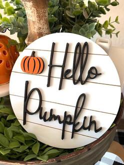 Hello Pumpkin, Pumpkin Tag 3d mini signs, tier tray decor, fall decor, home decor