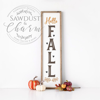 Fall porch sign / porch sign / framed vertical sign / Autumn sign / Autumn decor / fall decor / framed fall sign / Welcome Sign / Hello Fall