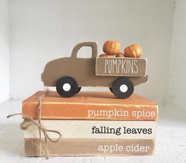 Fall decor, Pumpkin truck, Mini book bundle, Book stack, Wooden truck, Faux books, books, Tiered tray decor, Farmhouse truck, Pumpkins
