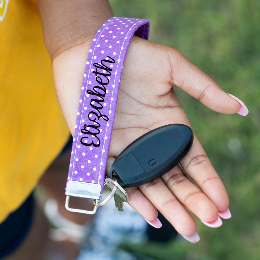 Purple Dot Personalized Keychain