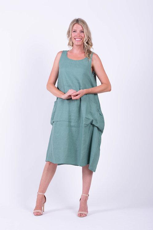 Sleeveless Drape Pocket Dress