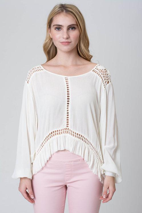 Short Crochet Puffed Sleeves top